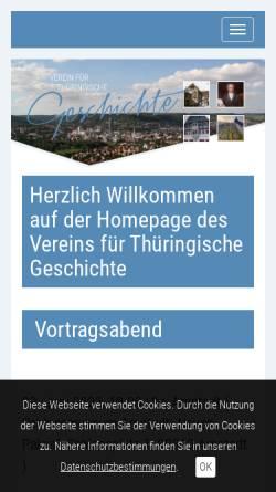 Vorschau der mobilen Webseite www.vthg.de, Verein für Thüringische Geschichte e.V.