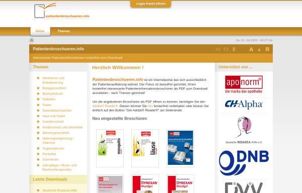 Vorschau von www.patientenbroschueren.info, Patientenbroschüren