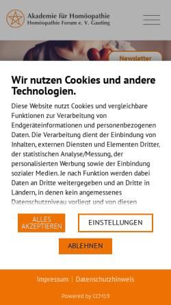Vorschau der mobilen Webseite www.homoeopathie-akademie.de, Akademie für Homöopathie