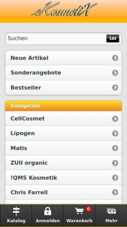 Vorschau der mobilen Webseite www.ekosmetix.de, Kosmetik Institut Weissert e.K.
