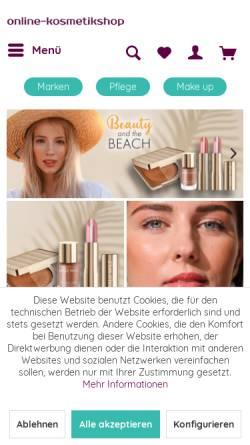 Vorschau der mobilen Webseite online-kosmetikshop.de, Online-Kosmetikshop, Jane Giebel