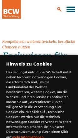 Vorschau der mobilen Webseite www.bcw-essen.de, BCW - BildungsCentrum der Wirtschaft