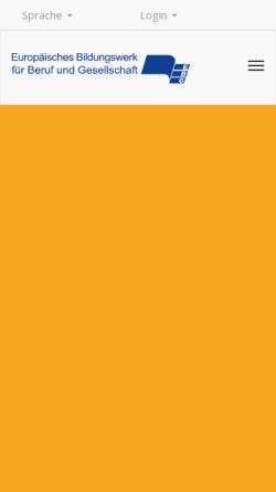 Vorschau der mobilen Webseite www.ebg.de, Europäische Bildungswerke für Beruf und Gesellschaft e. V. (EBG)