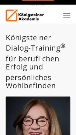 Vorschau der mobilen Webseite www.koenigsteiner-akademie.de, Königsteiner Akademie - Gesellschaft für persönliche Weiterbildung mbH