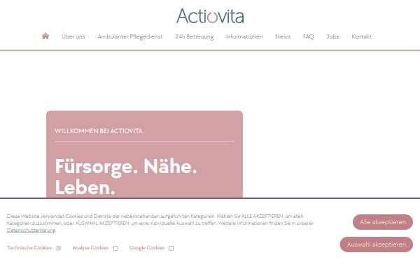 Vorschau von www.actiovita.de, actioVITA - 24 Stunden Pflege