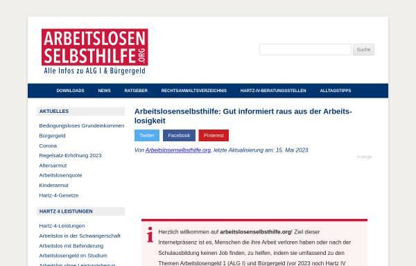 Vorschau von www.arbeitslosenselbsthilfe.org, Arbeitslosenhilfe Online e.V.