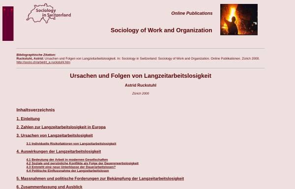 Vorschau von socio.ch, Astrid Ruckstuhl: Ursachen und Folgen von Langzeitarbeitslosigkeit