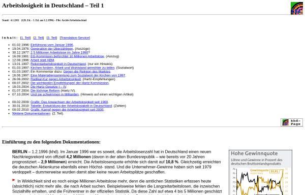 Vorschau von www.khd-research.net, Karl-Heinz Dittberner: Arbeitslosigkeit in Deutschland