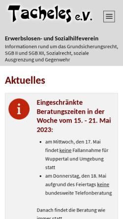 Vorschau der mobilen Webseite www.tacheles-sozialhilfe.de, Tacheles e.V.