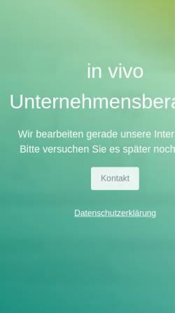 Vorschau der mobilen Webseite www.invivo-unternehmensberatung.com, In Vivo Unternehmensberatung GmbH