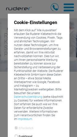 Vorschau der mobilen Webseite www.ruderer.de, Ruderer Klebetechnik