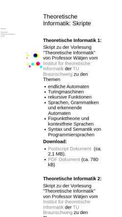 Vorschau der mobilen Webseite www.carsten-buschmann.de, Theoretische Informatik: Skripte