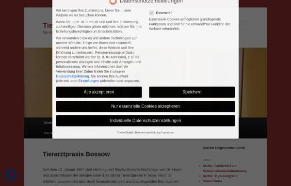 Vorschau von www.bossow.de, Tiergesundheit Bossow GmbH