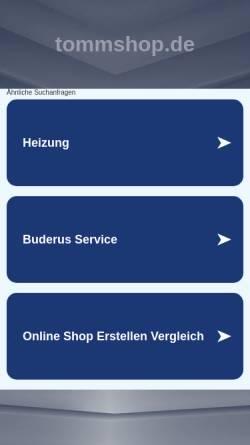 Vorschau der mobilen Webseite tommshop.de, Heizungsservice Thomas Omnis