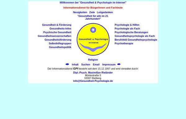 Vorschau von www.gesundheit-psychologie.de, Gesundheit und Psychologie im Internet