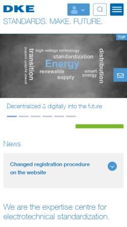 Vorschau der mobilen Webseite www.dke.de, Deutsche Kommission Elektrotechnik Elektronik Informationstechnik im DIN und VDE (DKE)