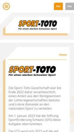 Vorschau der mobilen Webseite www.sport-toto.ch, Sport-TOTO