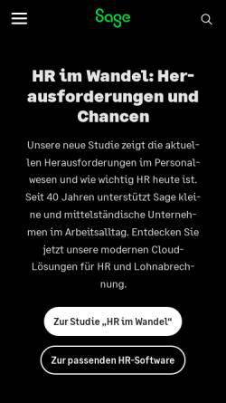 Vorschau der mobilen Webseite www.sage.de, Sage Software GmbH & Co. KG