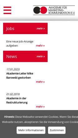 Vorschau der mobilen Webseite www.akademie-frankfurt.de, Akademie für Marketing-Kommunikation e.V.
