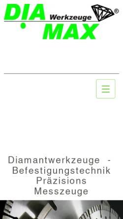 Vorschau der mobilen Webseite www.diamax.de, Diamax Werkzeuge GmbH
