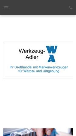 Vorschau der mobilen Webseite www.werkzeug-adler.de, Werkzeug-Adler, Inh. Konrad Adler