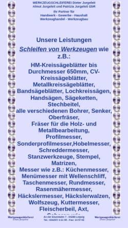 Vorschau der mobilen Webseite www.werkzeugschleiferei-leipzig.de, Werkzeugschleiferei Jurgeleit, Inh. Dieter Jurgeleit