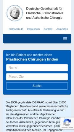 Vorschau der mobilen Webseite www.dgpraec.de, Deutsche Gesellschaft der Plastischen, Rekonstruktiven und Ästhetischen Chirurgen