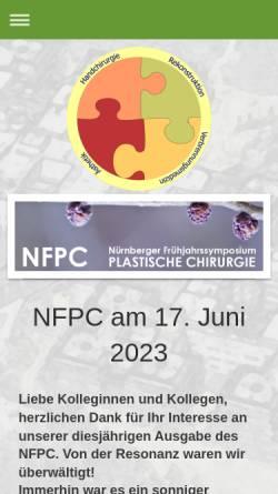 Vorschau der mobilen Webseite www.nfpc.de, Nürnberger Frühjahrssymposium Plastische Chirurgie.