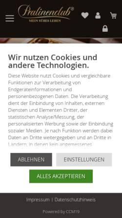 Vorschau der mobilen Webseite www.pralinenclub.de, Pralinenclub Deutschland