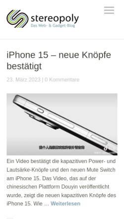 Vorschau der mobilen Webseite stereopoly.de, stereopoly