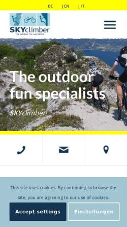 Vorschau der mobilen Webseite www.skyclimber.de, Skyclimber