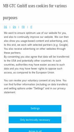 Vorschau der mobilen Webseite www.mbgtc.de, MB GTC GmbH