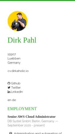 Vorschau der mobilen Webseite dirkaholic.github.io, Pahl, Dirk