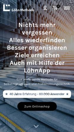 Vorschau der mobilen Webseite www.loehnmethode-shop.de, LöhnMethode - coda KG Management Methoden & Co