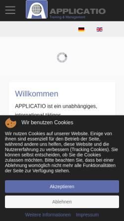 Vorschau der mobilen Webseite www.applicatio.com, Applicatio Training & Management GmbH
