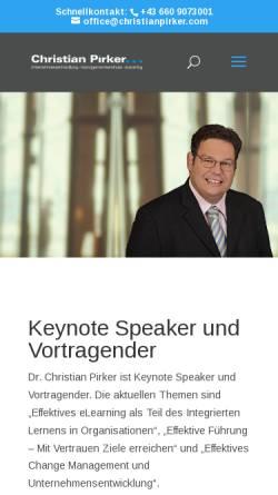 Vorschau der mobilen Webseite www.christianpirker.com, Keynote Speaker Christian Pirker
