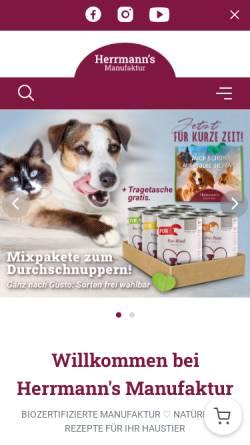 Vorschau der mobilen Webseite www.herrmanns-manufaktur.com, Herrmanns Hundefutter - Herrmann & Herrmann GbR