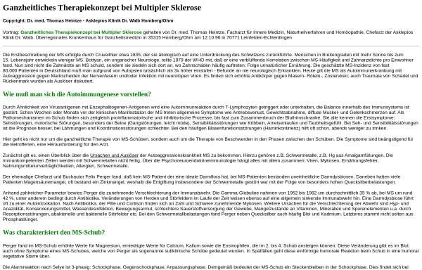 Vorschau von www.hendess.net, Ganzheitliches Therapiekonzept bei Multipler Sklerose