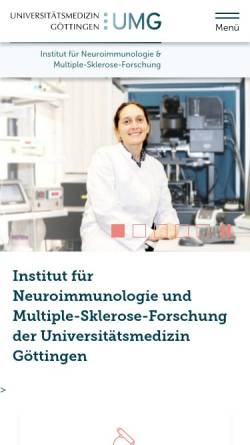 Vorschau der mobilen Webseite www.neuroimmunologie.uni-goettingen.de, IMSF Göttingen