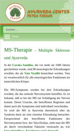 Vorschau der mobilen Webseite www.ayu-center.de, Multiple Sklerose Ayurveda-Behandlung