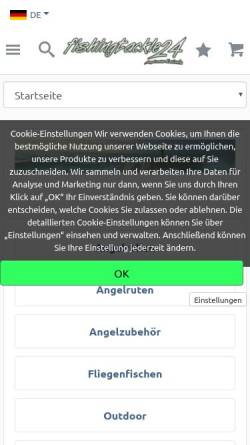 Vorschau der mobilen Webseite www.fishingtackle24.de, Angelcenter Karlsruhe - Fishingtackle24