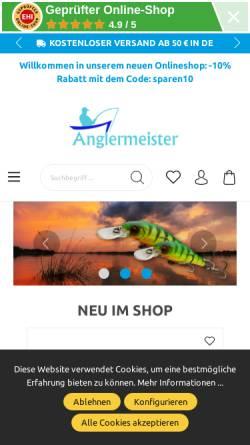 Vorschau der mobilen Webseite www.anglermeister.de, Angelsport Anglermeister - Angelgeräte Versand und Verkauf.
