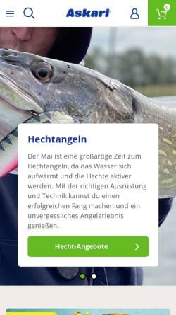 Vorschau der mobilen Webseite www.angelsport.de, Askari Sport GmbH