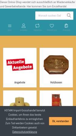 Vorschau der mobilen Webseite www.hotani.de, Hotani Import-Großhandel, Marc Hotani