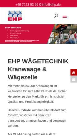 Vorschau der mobilen Webseite www.ehp.de, EHP Wägetechnik GmbH