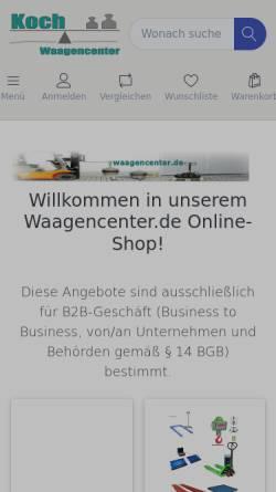 Vorschau der mobilen Webseite www.waagencenter.de, Wägetechnik Koch, Inh. Helga B. Koch und Günter Koch GbR