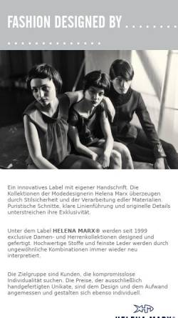 Vorschau der mobilen Webseite www.helenamarx.de, Marx, Helena