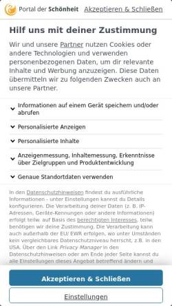 Vorschau der mobilen Webseite www.portal-der-schoenheit.de, Portal der Schönheit