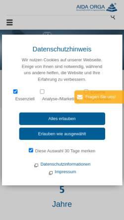 Vorschau der mobilen Webseite www.aida-orga.de, AIDA Geschäftsführungs-Organisations-Systeme GmbH