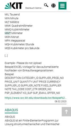 Vorschau der mobilen Webseite www.rz.uni-karlsruhe.de, Multimedia Transfer